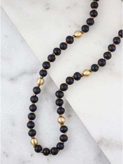 Black Wood Beads Necklace with a Gold Balls