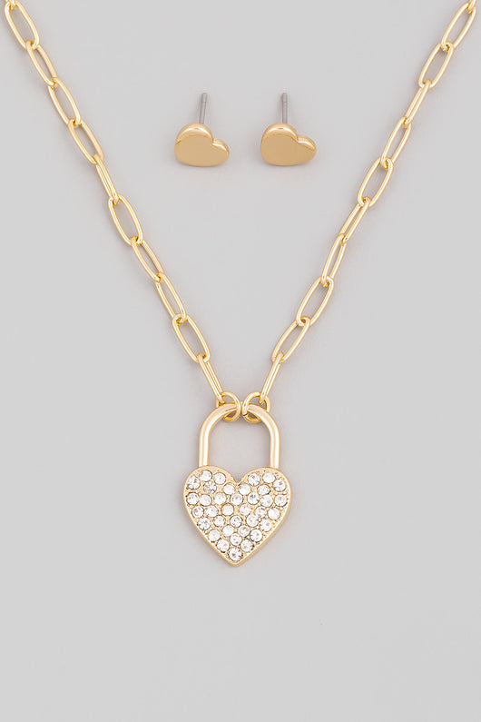 Sweetheart Pave Gold Lock Pendant Necklace & Heart Earring Set