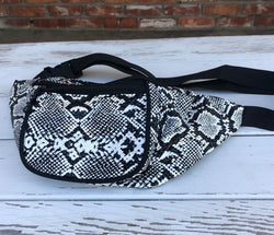 Black & White Snakeskin 2 Pocket Fanny Pack