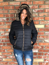 Black Padded Jacket w/removable hood