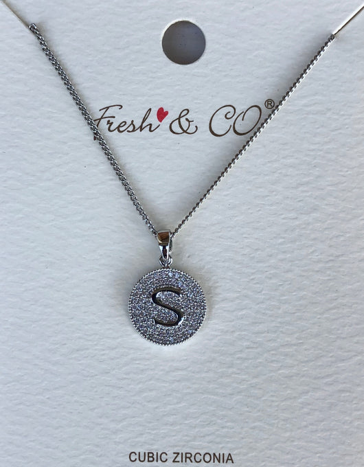 "Cubic Zirconia Bling Round Initial ""S"" Necklace"