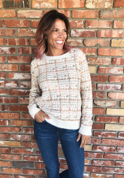 Tweed Gee Gee Beige, Pink and Taupe Knit Scoop Neck Sweater