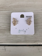Gold & Crystal Butterfly Profile Post Earrings