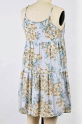Blue Floral Print Spaghetti Strap Summer Tiered Dress