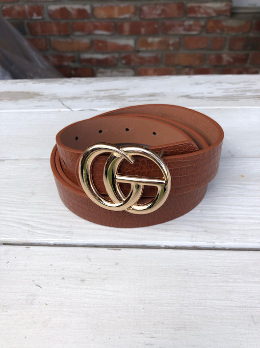 "Faux Leather Brown Textured Belt with Gold ""GO"" Buckle"