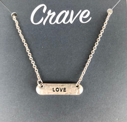 Crave Love Silver Bar Necklace