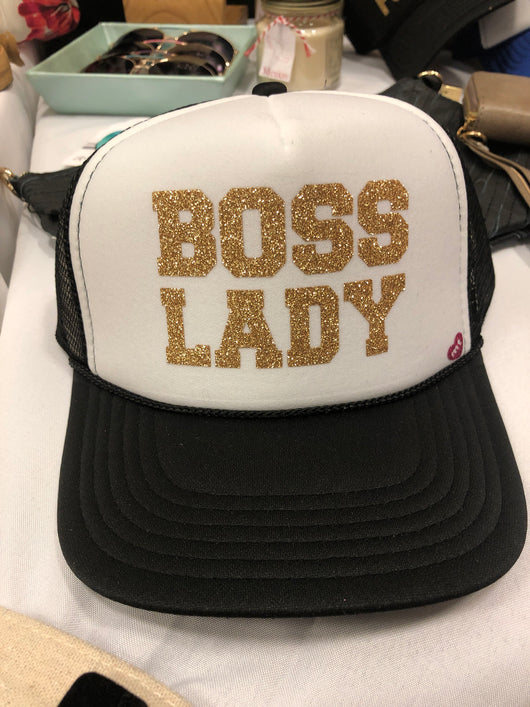 Boss Lady Black & White Mother Trucker Hat