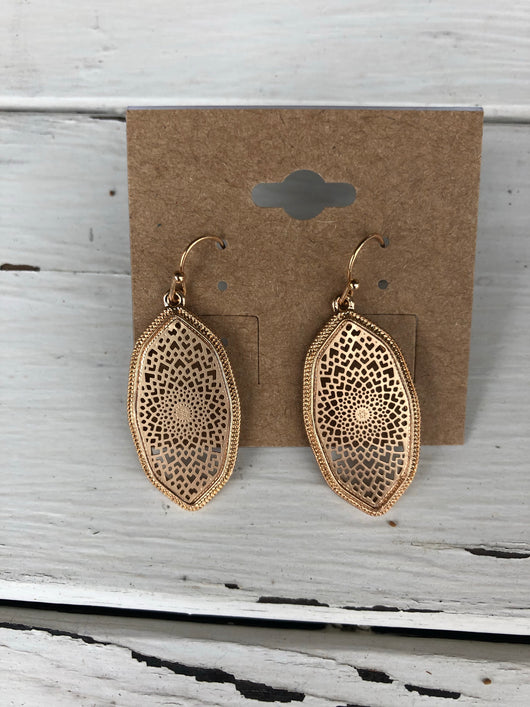 Gold Lace Small Oval Earrings