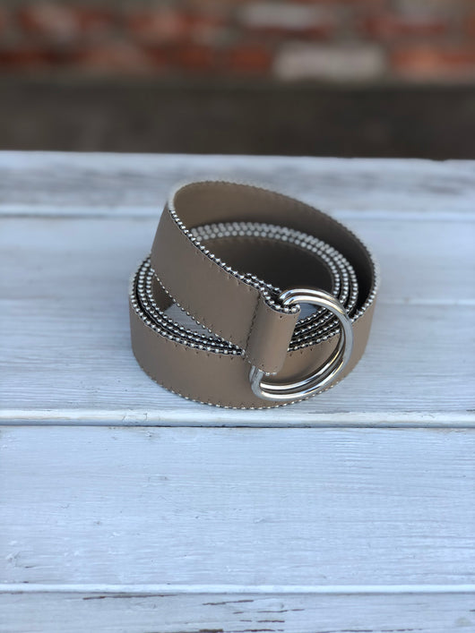 Taupe OS Belt with Silver Loops & Trim
