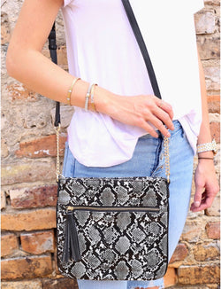 Dark Grey Snakeskin Crossbody Bag with Zipper Pocket & Tassel