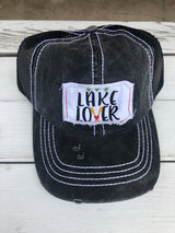 Lake Lover Patch Charcoal Trucker Hat with Mesh & Adjustable Snap Closure