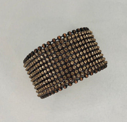 Brown/Gold Mesh Rhinestone Studded Genuine Leather Cuff Adjustable Bracelet