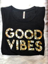 Good Vibes Glitter & Black Top with Side Knot