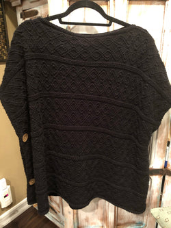 Black Poncho w/buttons