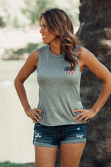 Tank Top Gray with American Flag Heart