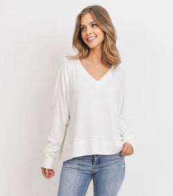 Ivory V-Neck Long Sleeve Raglan Sweater