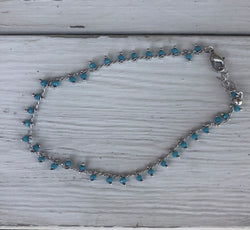 Anklet with Silver Adjustable Chain and Turquoise Beads