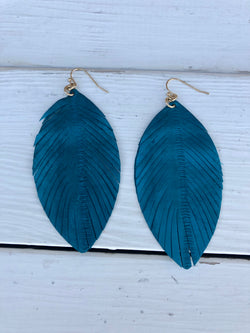 Turquoise Feather Cut-out Leaf Shape Fishhook Earrings