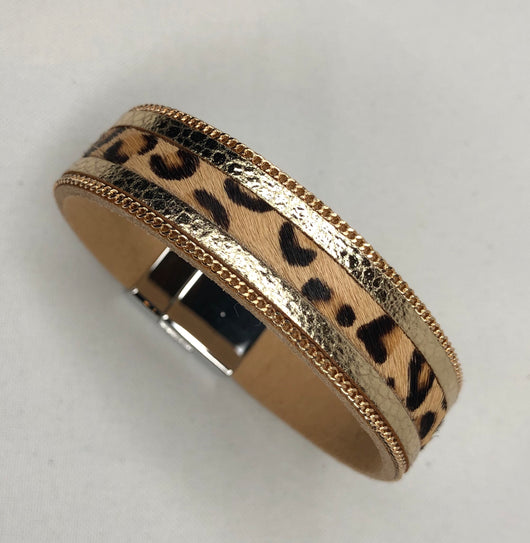 Leopard, Gold Trim and Chain Magnetic Cuff Bracelet