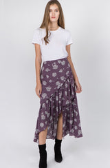 Açaí Floral Ruffle Tiered Faux Wrap Skirt w/Lining