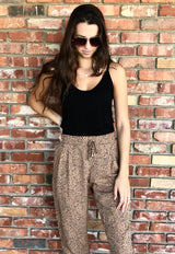 Leopard Print Joggers with Elastic Drawstring Waist & Front Slanted Pockets & Back Mock Pockets