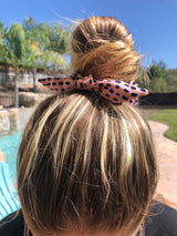 Pink Polka Dot Mini Top Knot Hair Scrunchie