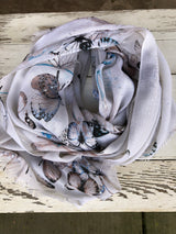 Grey Butterfly Scarf with Shimmer detail and frayed edges