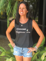 Choose Happiness by Social Butterfly Black Muscle Tank