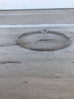 Baseball Mom Inspirational Bangle Bracelet