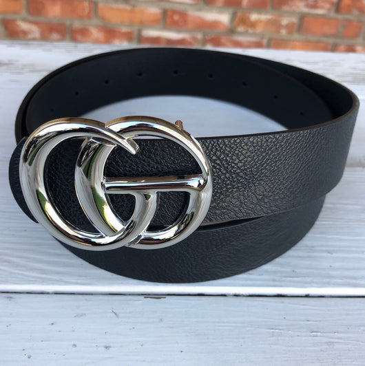 "Black Faux Leather ""GO"" Silver Buckle Belt"