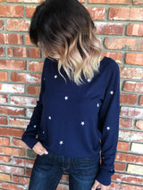 Navy Long Sleeve Pullover Sweater with White Stars Embroidery