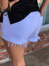 Distressed White Cut-Off Shorts have comfort stretch fit by Hammer  Take your outfit to the next level with OC Social Butterfly's hand selected, specially curated stylish shorts. You can't go wrong a great pair of distressed denim shorts.  Ships from the USA, unique style, fashion trends, stagecoach festival attire, favorite shorts,