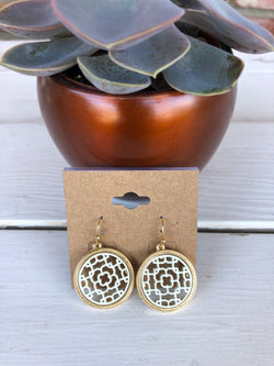 White Lace Circle Earrings