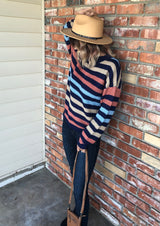 Colorful & Black Stripe Knit Sweater