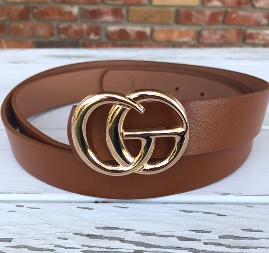 "Plus Size Rust Faux Leather ""GO"" Belt with Gold Buckle"
