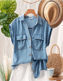 Denim Blue Short Sleeve Button Down Top with Pockets