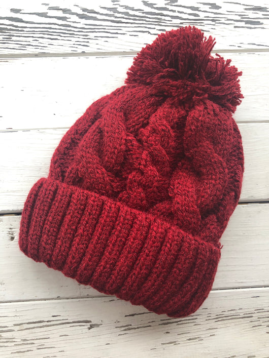 Red Cable Knit Beanie with Fur Lining & Pom Pom