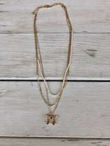 Multi-layered Gold Chain, white Beads and Glass Butterfly Necklace