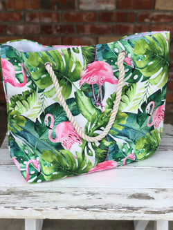 Tropical Rainforest Flamingo Tote Bag with Rope Handles, Button Closure and One Small Inside Pocket