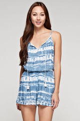 Natural & Blue Tie-dye Romper with Tassel Front Tie and Spaghetti Straps by Lovestitch Clothing