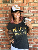 """Mother Hustler"" Charcoal Short Sleeve Tee w/Gold Print"