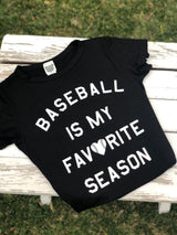 Baseball is my Favorite Season Black Slim Fit Short Sleeve Tee