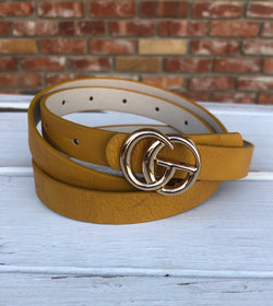"Thin Mustard Faux Leather ""GO"" Buckle Belts"