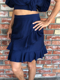 Navy Ruffle Skirt
