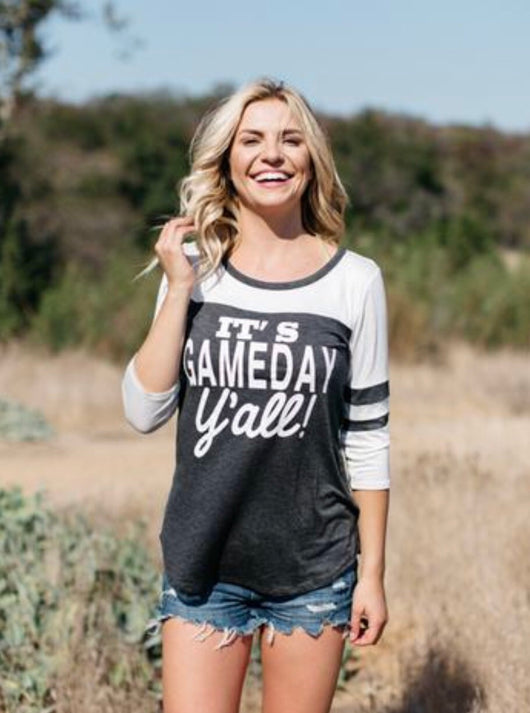 It's Game Day Y'all! Charcoal Grey & Ivory Baseball 3/4 Tee
