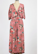 Vintage Rose Woven Floral Jumpsuit w/Tie-back Detail and Elastic Waist
