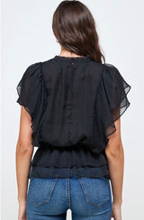 Effortless Black Sheer Blouse w/Ruffled Sleeve