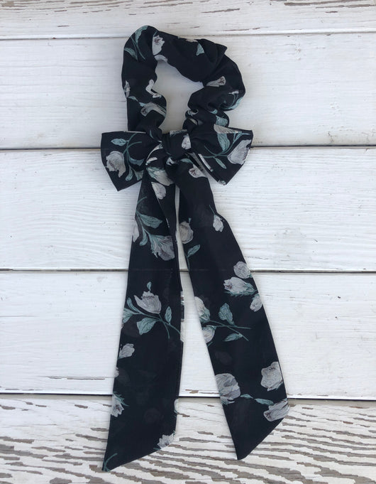 Black & Green Floral Print Scrunchie with Bow Tie Sash for Stylish Ponytails