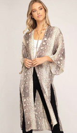 Snakeskin Print Light Mocha Long Kimono/Cover Up is so versatile. It's a great layering piece by She +  Sky fashion. Kimono, She & Sky, fashion trends, OC Social Butterfly boutique, ships from the USA