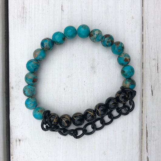 Handmade Beaded Bracelet - Turquoise & Gold/Black Beads w/Black Chain